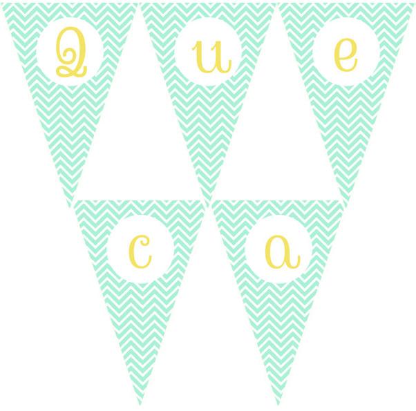 Imprimible gratis: Banderines de letras chevron mint – QuecaCoqueta